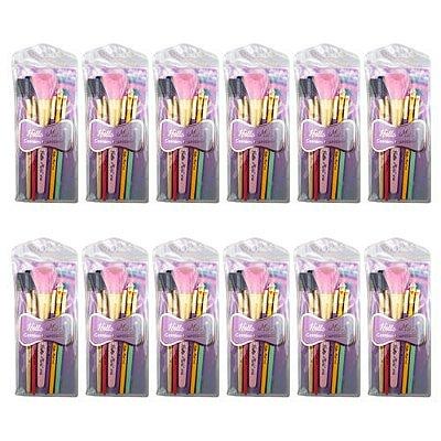 Kit de Pincéis para Maquiagem Hello Mini KT69 – Pacote c/ 12 unid