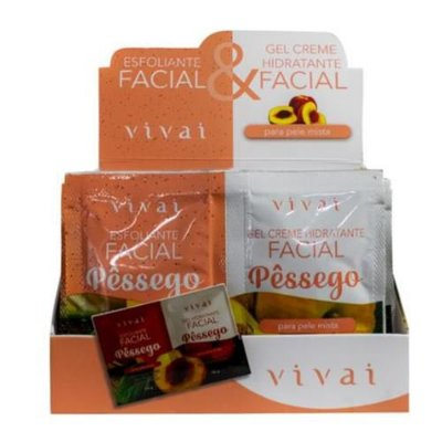 Gel Hidratante e Esfoliante Facial Pêssego Vivai 5053.5.1 – Box c/ 24 unid