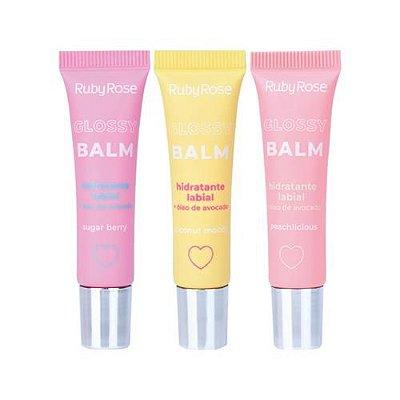 Glossy Balm Hidratante Labial Ruby Rose HB-8222 – Kit c/ 06 unid