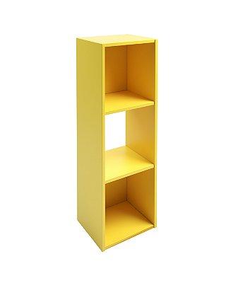 Estante para Livros Falkk Torre 3 nichos Amarela