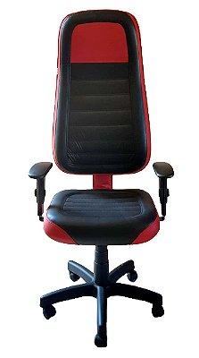 Cadeira Gamer em Corano Preto e Vermelho Escuro com base giratória preta