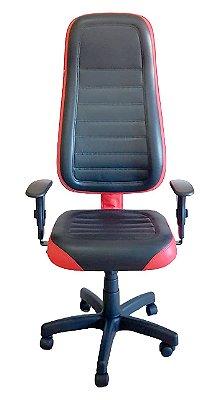 Cadeira Gamer em Corano Preto e Vermelho Intenso com base giratória preta