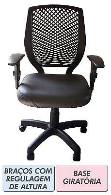 Cadeira de escritório Diretor preta com encosto plástico e base fixa ou giratória