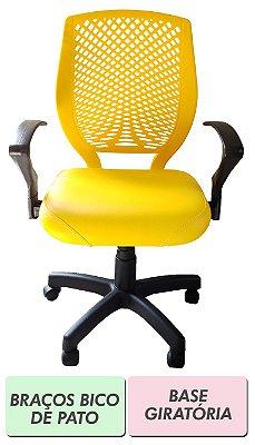 Cadeira de escritório Diretor amarela com encosto plástico e base fixa ou giratória