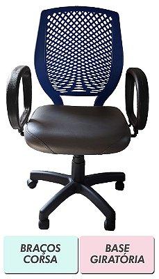 Cadeira de escritório Diretor preto e azul-escuro com encosto plástico e base fixa ou giratória