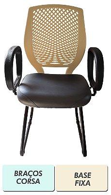 Cadeira de escritório Diretor preto e bege com encosto plástico e base fixa ou giratória