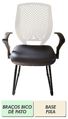 Cadeira de escritório Diretor preto e branco com encosto plástico e base fixa ou giratória