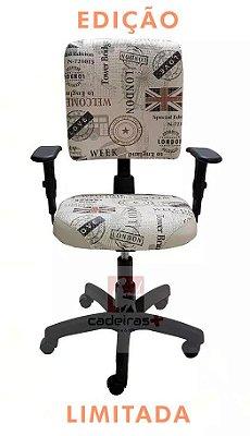 Cadeira de escritório Digitador Executiva estampada com base giratória backsystem