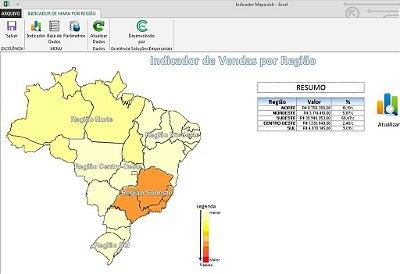 Planilha de Indicador de Mapa - Regiões do Brasil