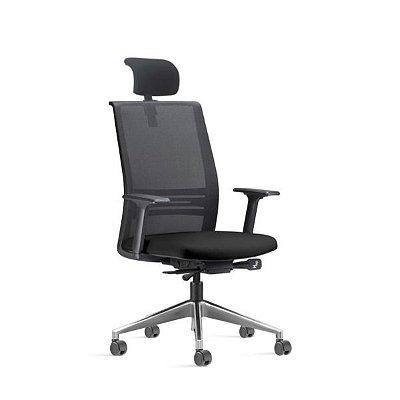 Cadeira Ergonômica Frisokar Ágile Presidente SYNCRON, Base Alumínio, Rodinha Anti Risco e Pistão Classe 4
