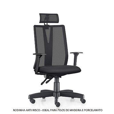Cadeira Ergonômica Frisokar Addit Presidente BACK SYSTEM, Base Metálica, Rodinha ANTI RISCO e Pistão Classe 3