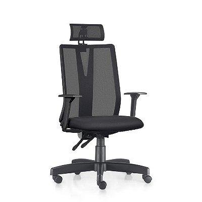 Cadeira Ergonômica Frisokar Addit Presidente BACK SYSTEM, Base Metálica, Rodinha em Nylon e Pistão Classe 3