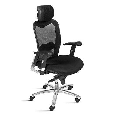 Cadeira Ergonômica Frisokar NEW ERGON Presidente, Base Alumínio, Rodinha em Nylon e Pistão Classe 4