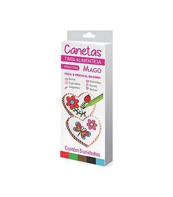 Canetas Tinta Comestível coloridas com 5 unidades-Mago