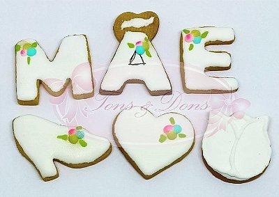Cortadores para mini biscoitos Dia das Mães (Kit com 6 modelos) 3,5 a 4cm