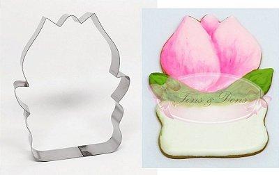 Cortador de biscoito Tulipa com placa p/ mensagem 12x9,5cm