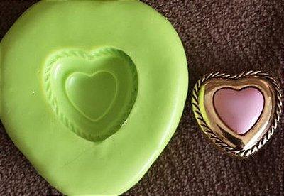 Molde de Silicone Coração rosa/ dourado (1,5cm)