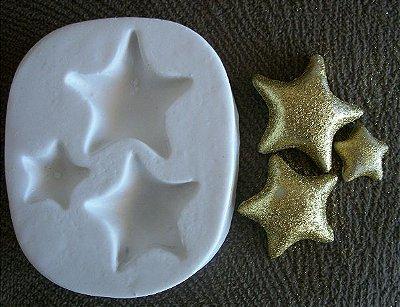 Molde de silicone Estrela (2,5cm, 2 e 1cm)