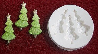 Molde de silicone Pinheiro com Estrela Natal