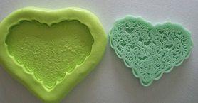 Molde de Silicone Coração rendado (4cm)