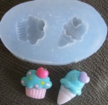 Molde de Silicone Cupcake e sorvete (2 e 2,4cm)