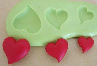 Molde de Silicone 3 Coração (1,9;1,4;1,2cm)