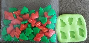 Molde de Silicone Bota e pinheiro Natal PP  (1 e 1,5 cm)