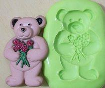 Molde de Silicone Urso c/ flor (3,7cm)