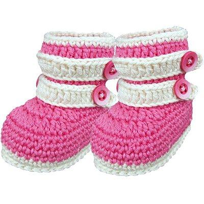 Botinha de Crochê para Bebê Recém-Nascido Modelo Fofura (RN)