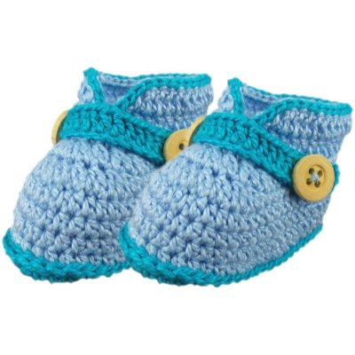 Sapatinho de Crochê para Bebê Menino Recém-Nascido Modelo Pimpolho (RN)