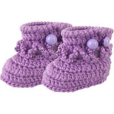 Sapatinho de Crochê de Lã Modelo Babadinho