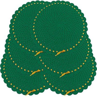 Sousplat Redondo de Crochê Modelo Natal Jogo de 6 Peças