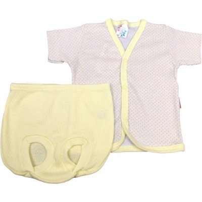 Pijama Curto de Bebê de Ribana Canelada de Poá Unissex