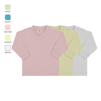 Kit 3 Camisetas Manga Longa de Bebê Unissex com Botão