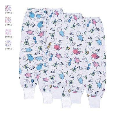 Kit 3 Calças Estampadas de Meia Malha de Bebê Unissex