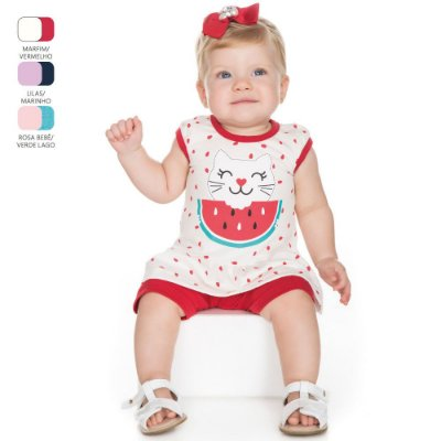 Conjunto para Bebê Menina Camiseta com Babado (Verão)