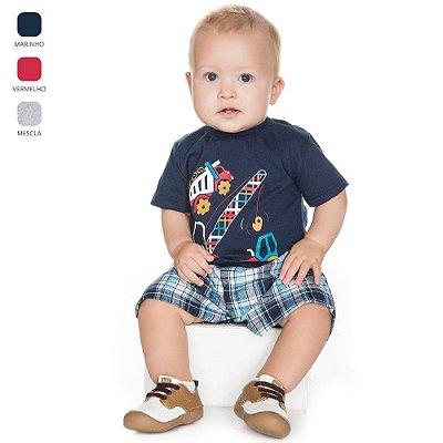 Conjunto para Bebê Menino Camiseta e Tricoline (Verão)