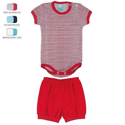 Conjunto Body e Short de Suedine para Bebê Menino (Verão)
