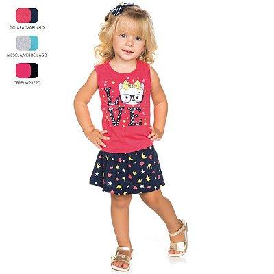 Conjunto Infantil para Menina com Short Saia (Verão)