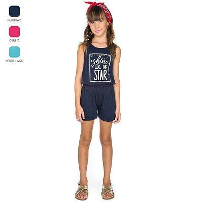 Macacão Regata com Estampa Infantil para Menina (Verão)