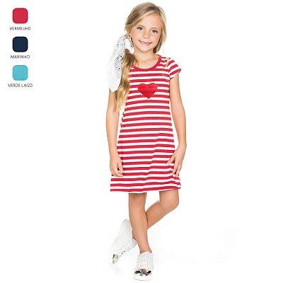Vestido Meia Manga Infantil para Menina Listrado (Verão)
