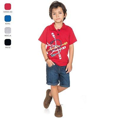Camiseta Polo Meia Manga Infantil para Menino (Verão)
