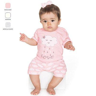 Pijama para Bebê Menina Meia Manga e Short (Verão)