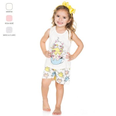Pijama Infantil para Menina Regata e Short (Verão)