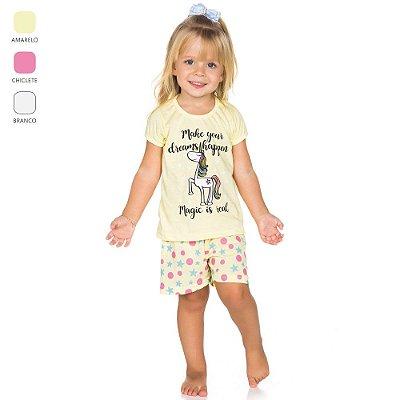 Pijama Infantil para Menina Camiseta Meia Manga (Verão)
