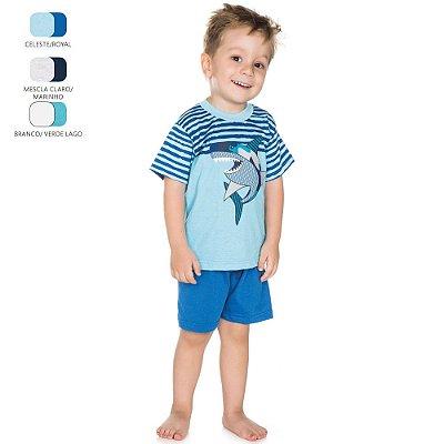 Pijama Infantil para Menino Camiseta Meia Manga (Verão)