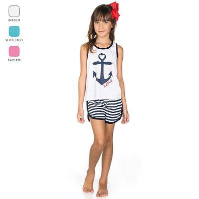 Pijama Infantil Regata e Short para Menina (Verão)
