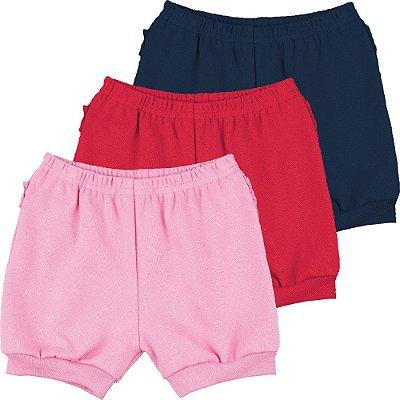 Roupa Bebê Menina Kit 3 Shorts de Ribana com Punho Isensee