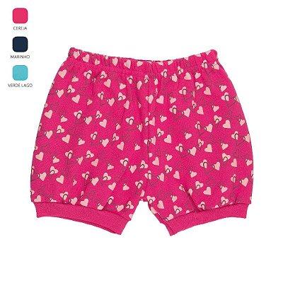Kit 3 Shorts Estampados para Bebê Menina Cores Sortidas (Verão)