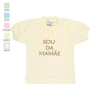Roupa Bebê Menino Menina Camiseta Meia Manga Botão no Ombro